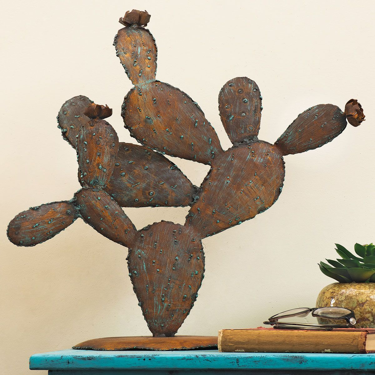 Patina Prickly Pear Metal Cactus with Blossoms - Medium