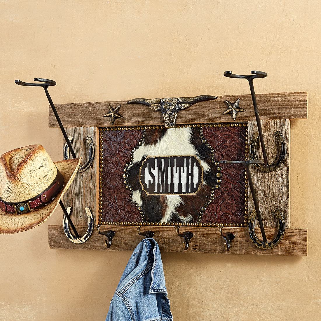 Personalized Cowboy Hat Rack with Hooks