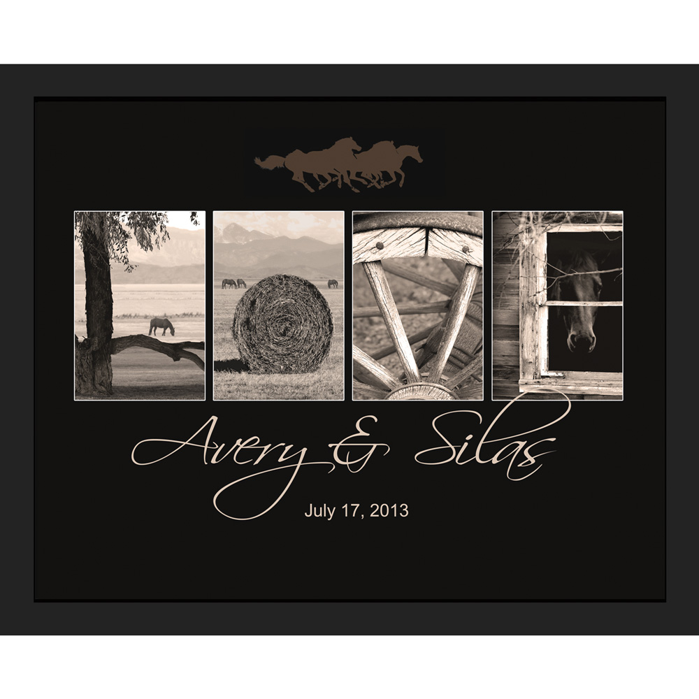 "Personalized Western ""Love"" Framed Canvas - Small"