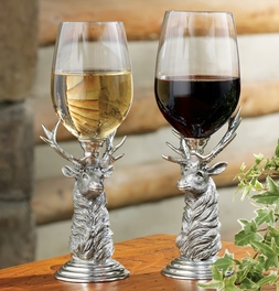 Pewter Elk Wine Glass Set - Set of 4