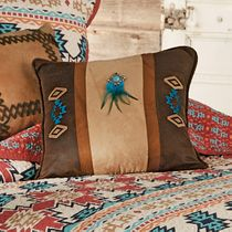 Phoenix Southwest Embroidered Pillow with Feathers