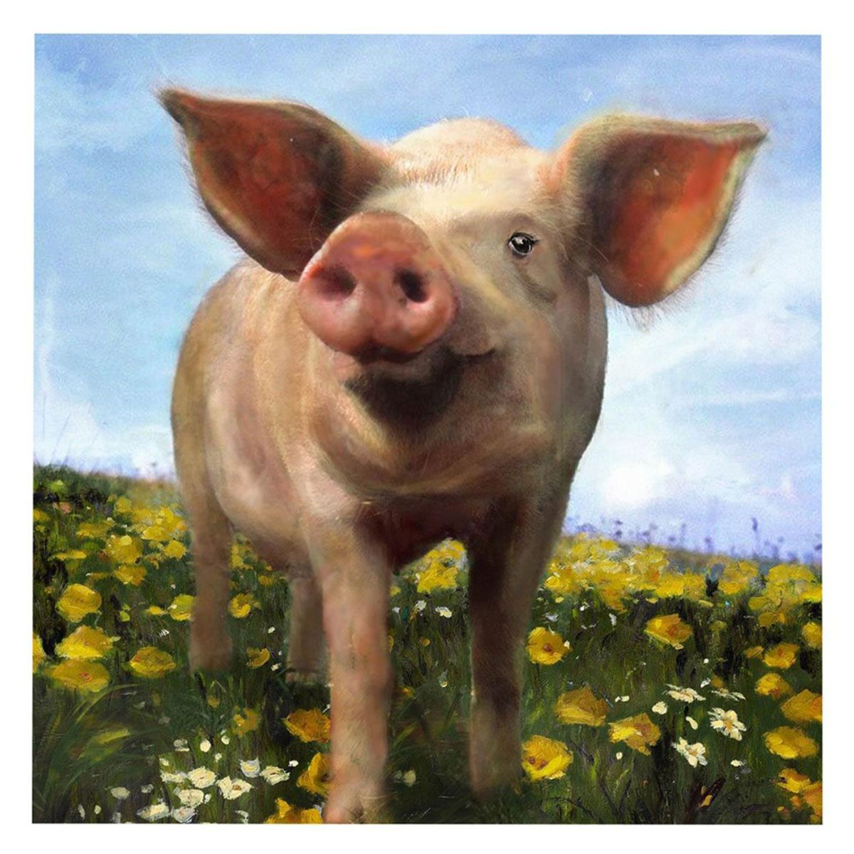 Pig in Flowers Canvas Wall Art