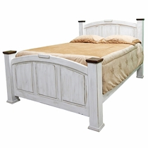 Pine Abode Queen Bed - Weathered White