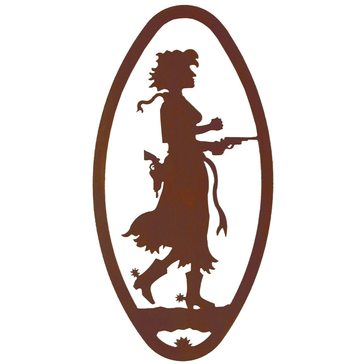 Pistol Cowgirl Cameo Metal Wall Art