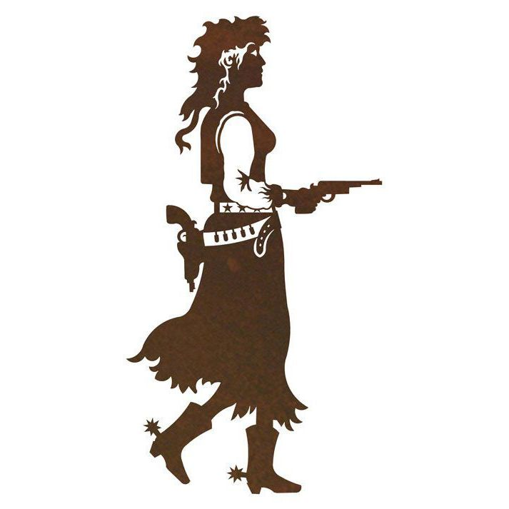 Pistol Cowgirl Metal Wall Art