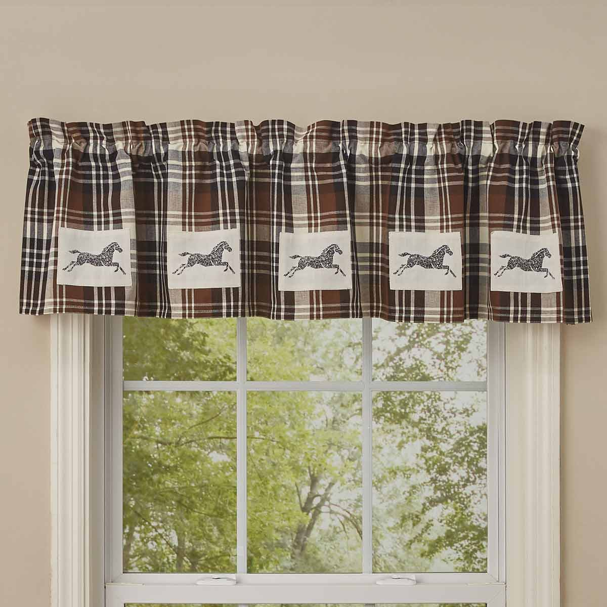 Plaid Horse Lined Valance