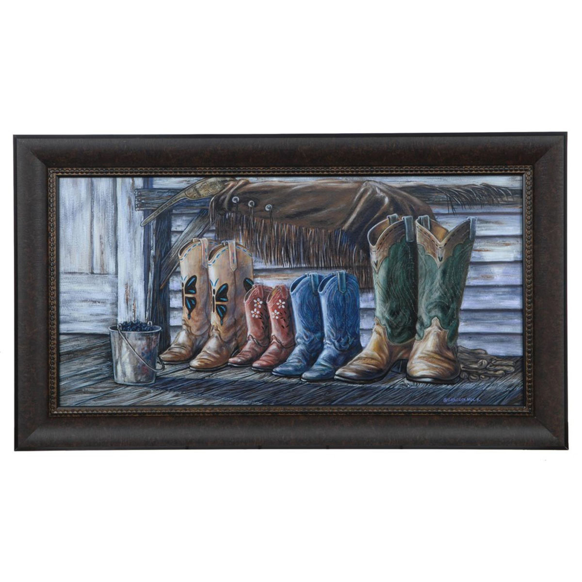 Porch Boots Framed Print