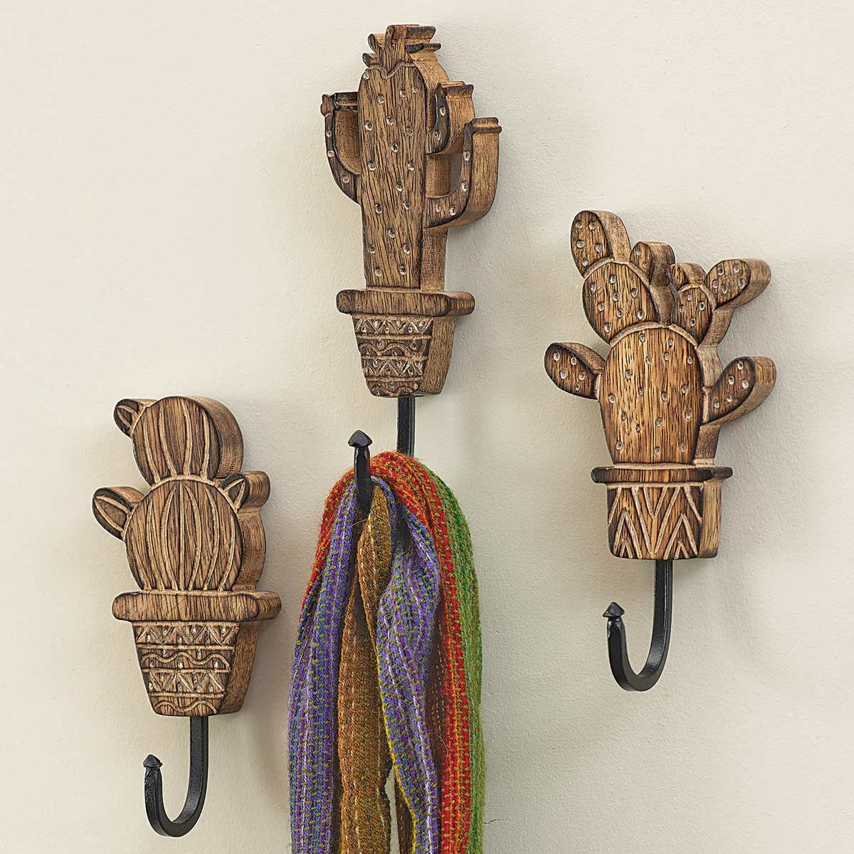 Potted Cactus Wall Hooks - Set of 3