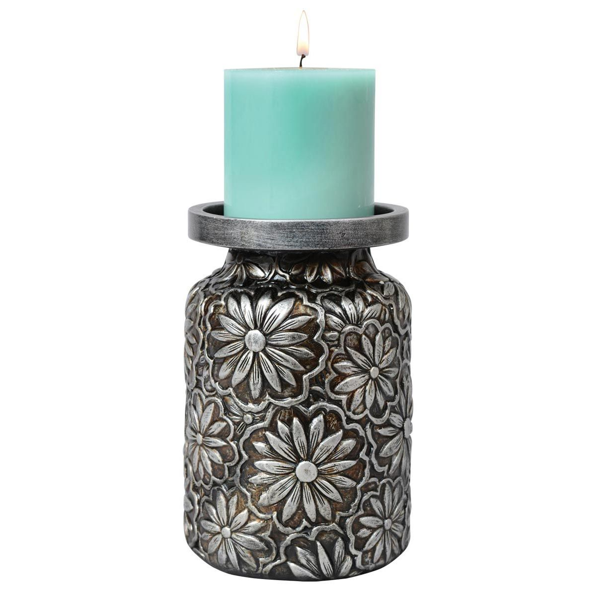Prairie Flowers Embossed Candle Holder