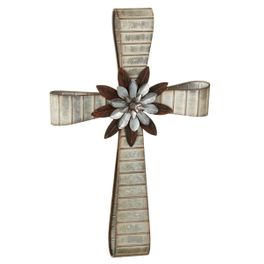 Prairie Steel Cross with Floral Accent