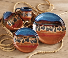 Prairie Thunder Buffalo Pottery Dinnerware - 4 pcs