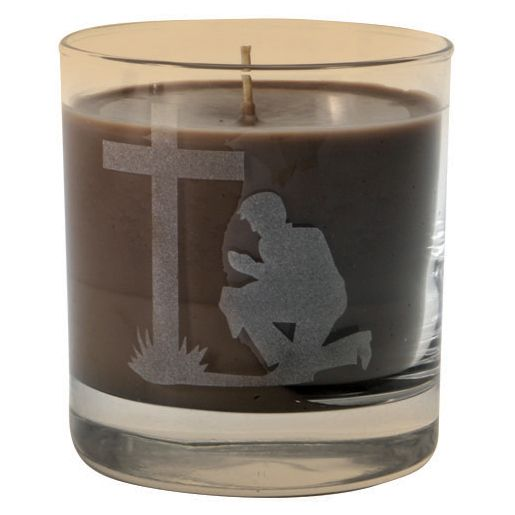Praying Cowboy Etched Tumbler Candle