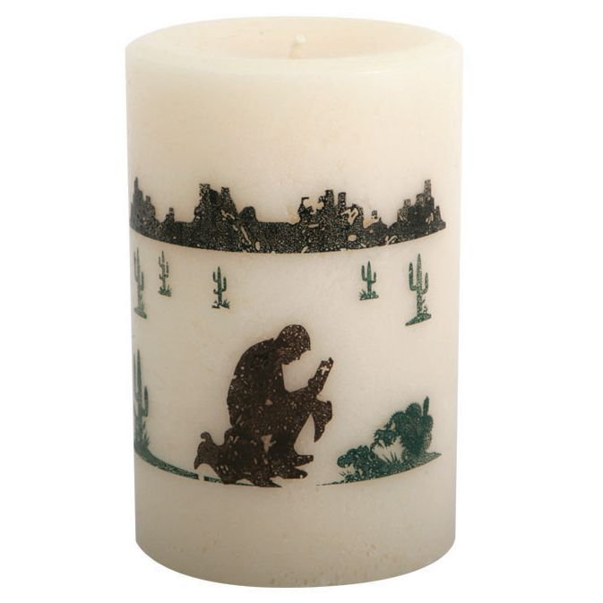 Praying Cowboy Pillar Candle - 4 Inch