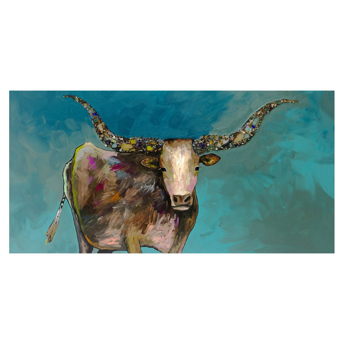 Prismatic Longhorn Turquoise Canvas Art