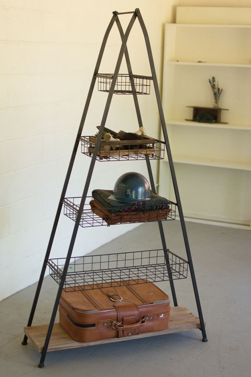 Pyramid Metal Tower with Wire Baskets
