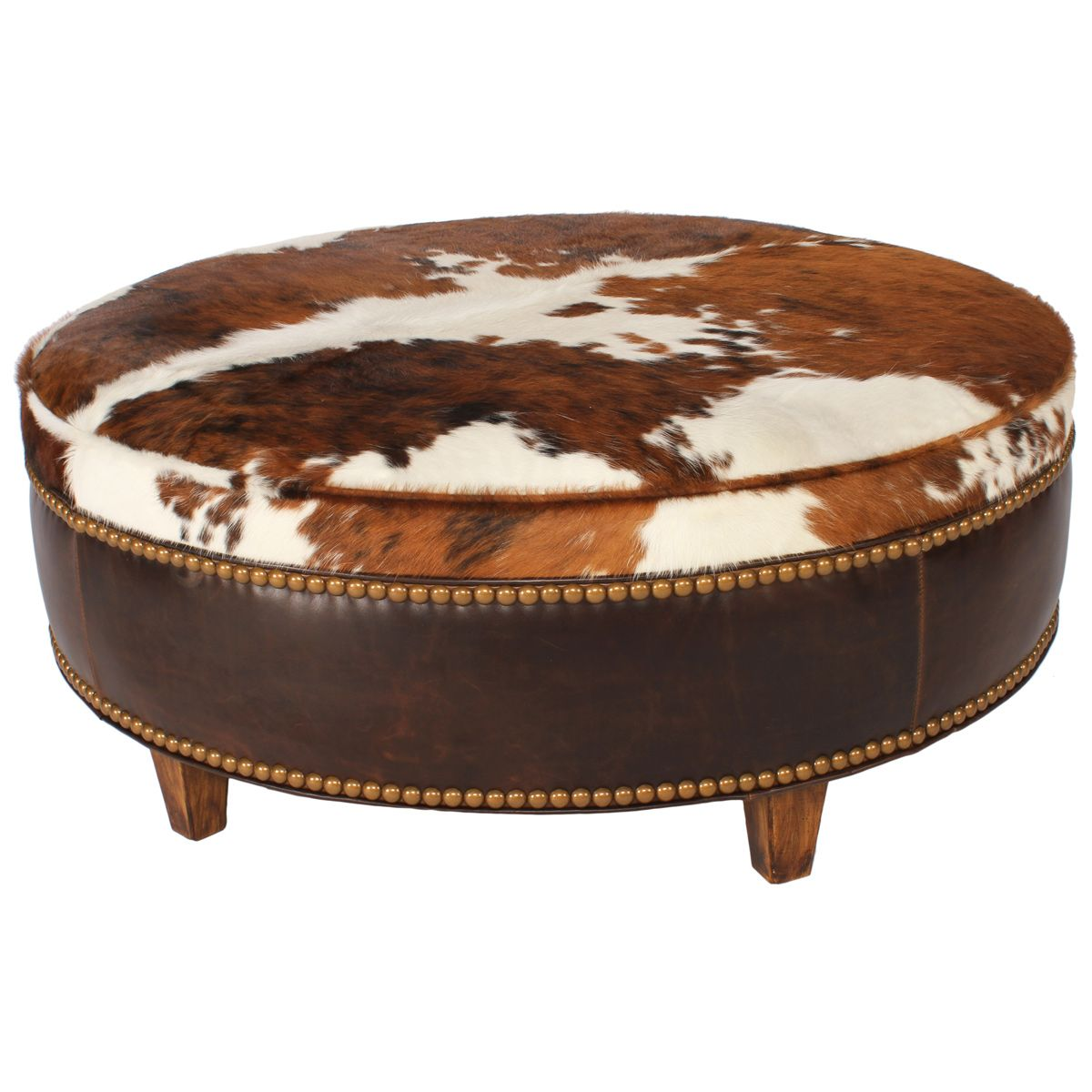 Ranch Collection Round Tricolor Cowhide Ottoman - 48 Inch