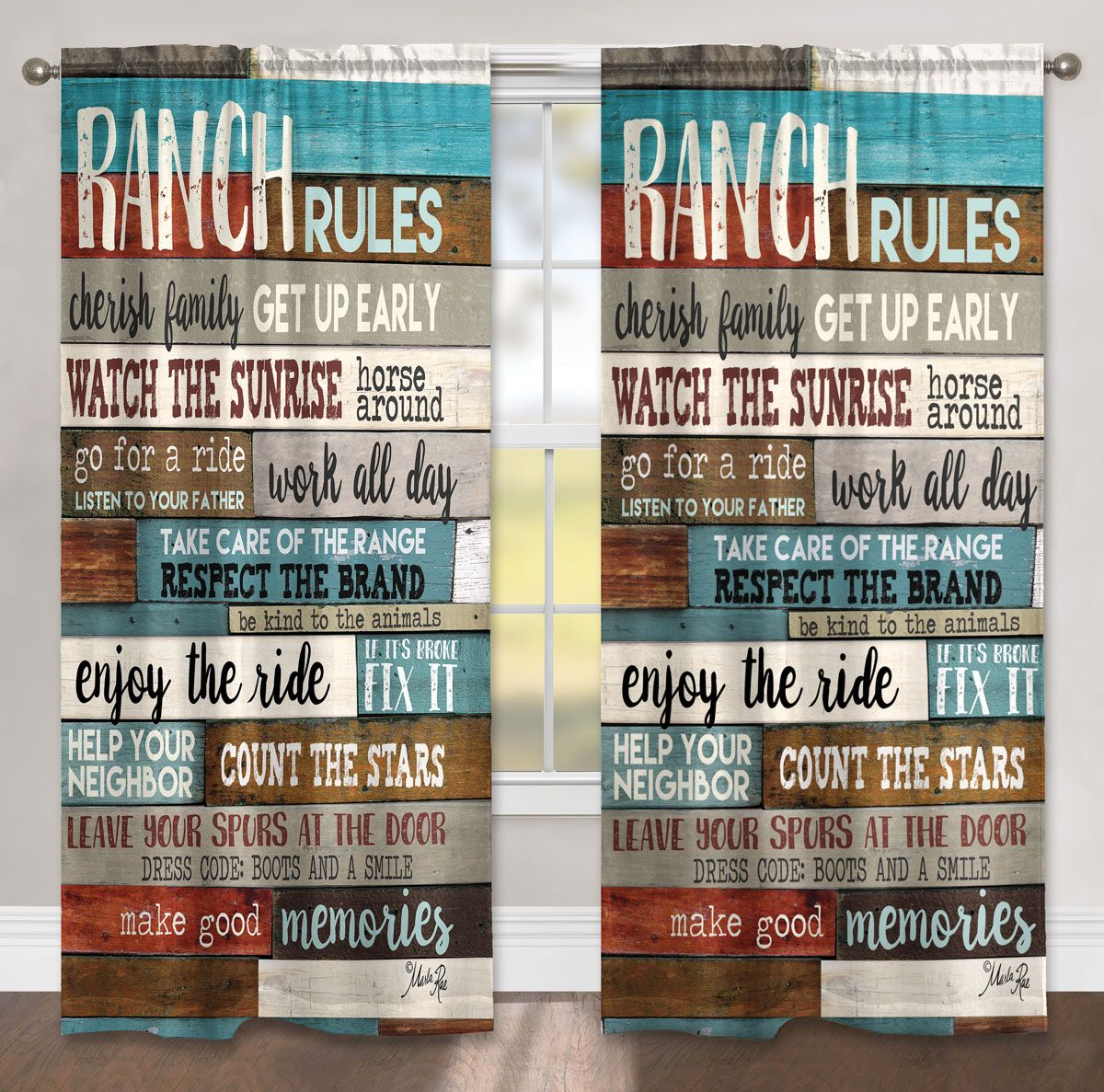 Ranch Commandments Drapes - CLEARANCE