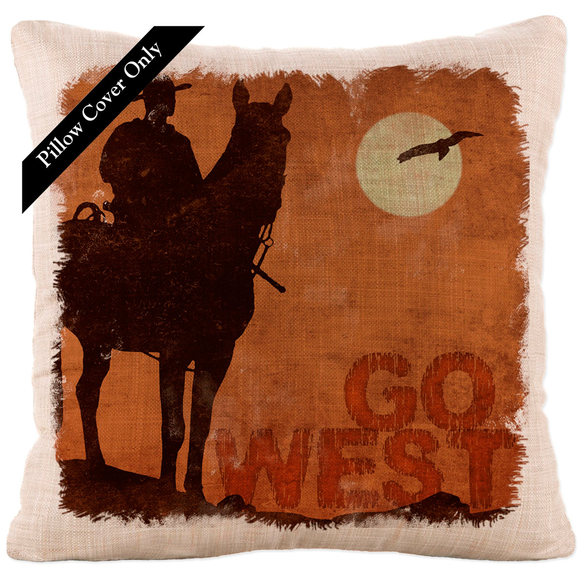 Rancher Roundup Go West Pillow Cover