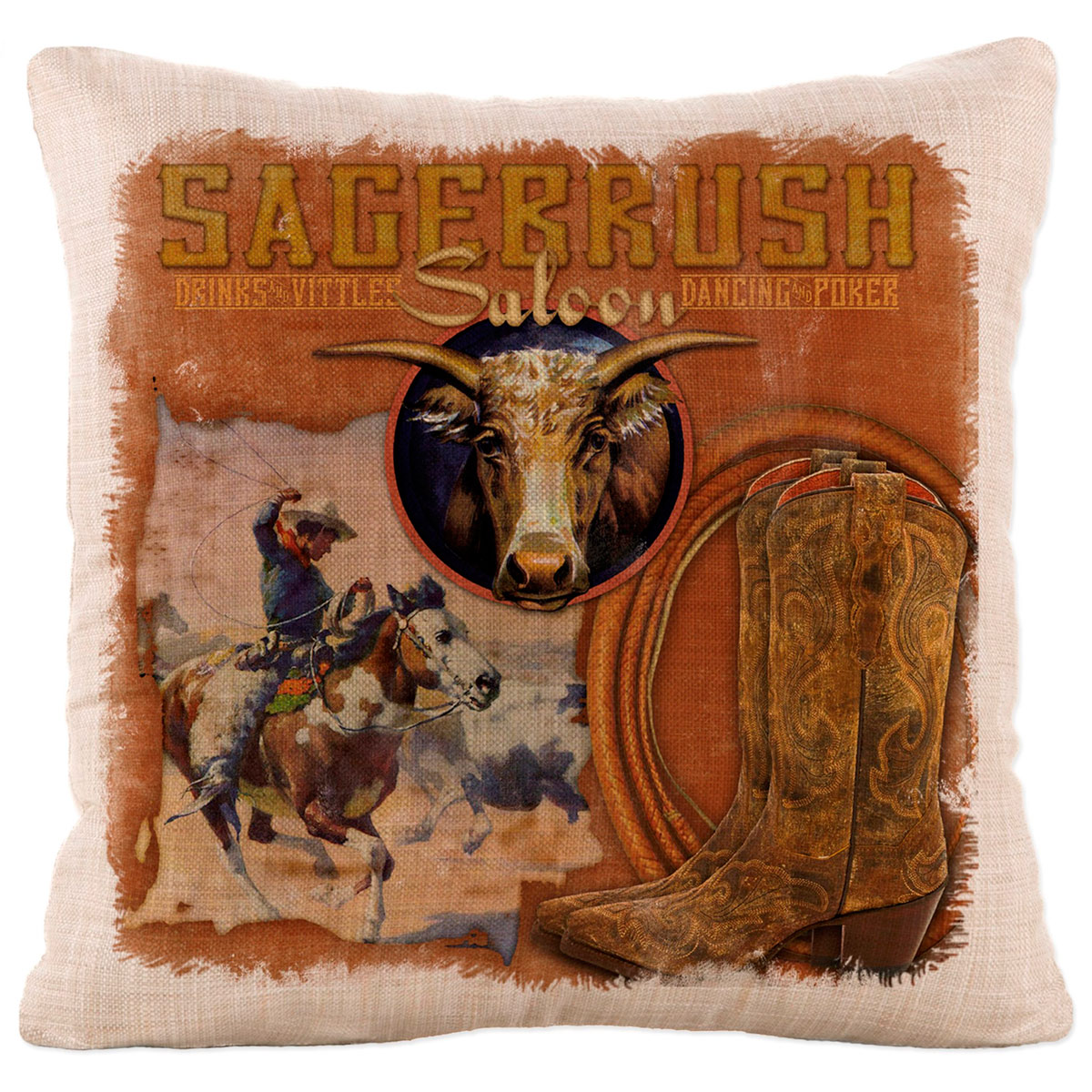 Rancher Roundup Square Pillow