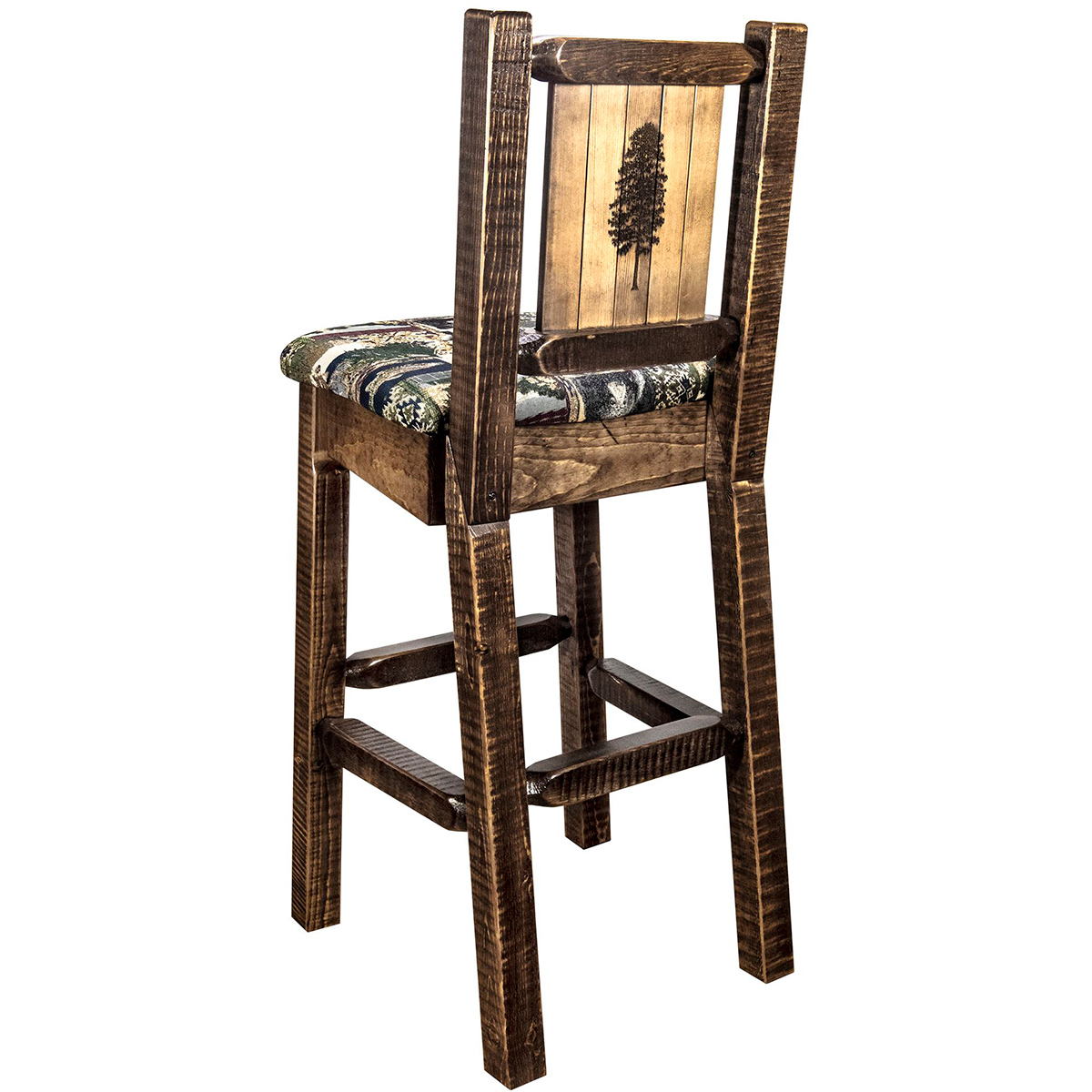 Ranchman's Barstool with Back & Laser-Engraved Pine Tree Design