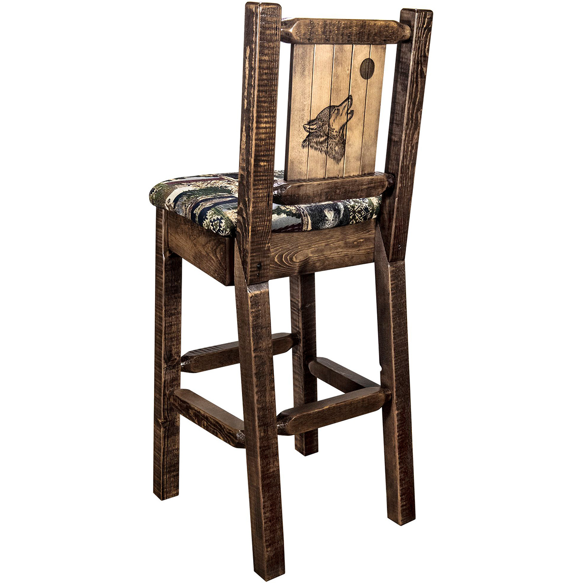 Ranchman's Barstool with Back & Laser-Engraved Wolf Design