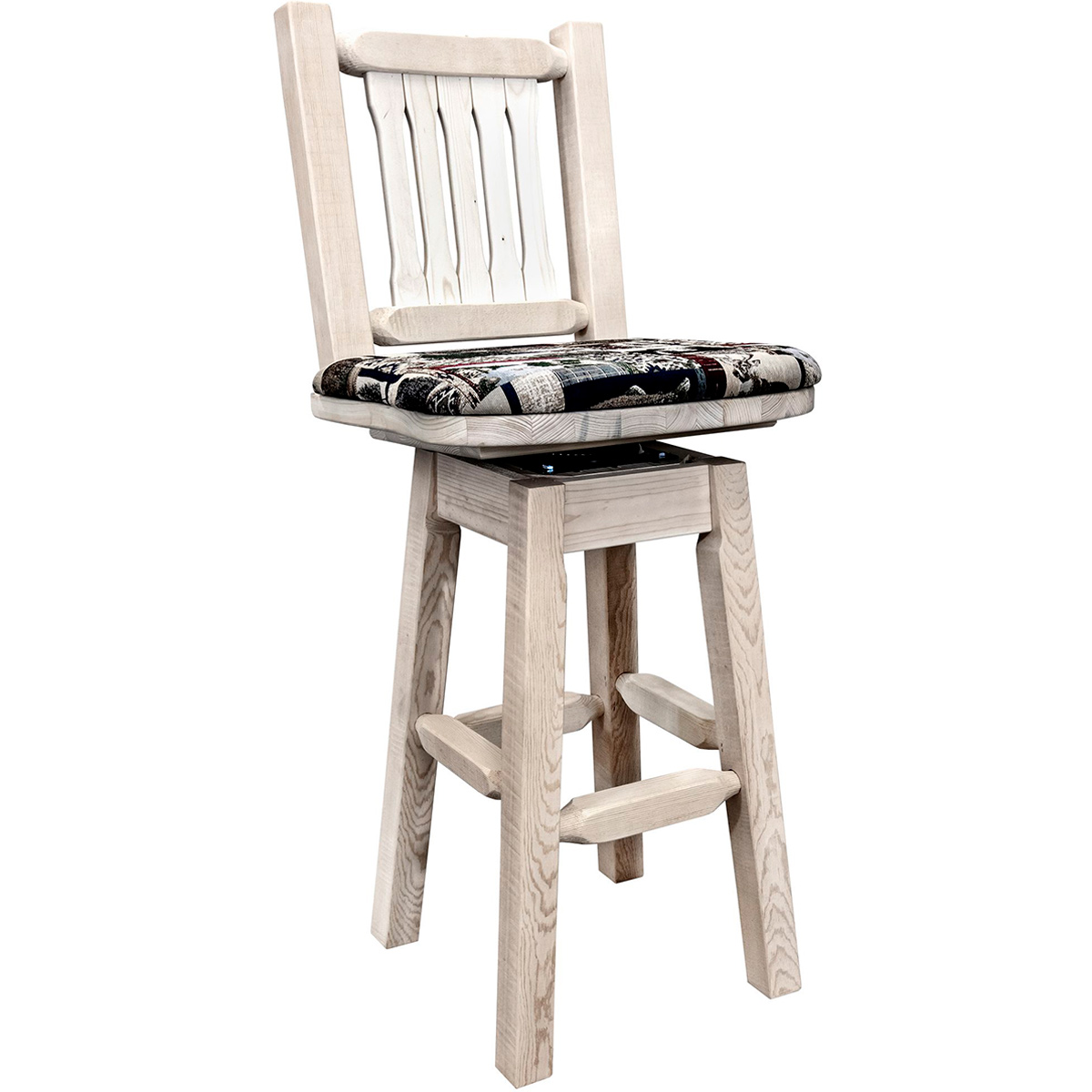 Ranchman's Barstool with Back, Swivel, Woodland Upholstered Seat & Clear Lacquer Finish