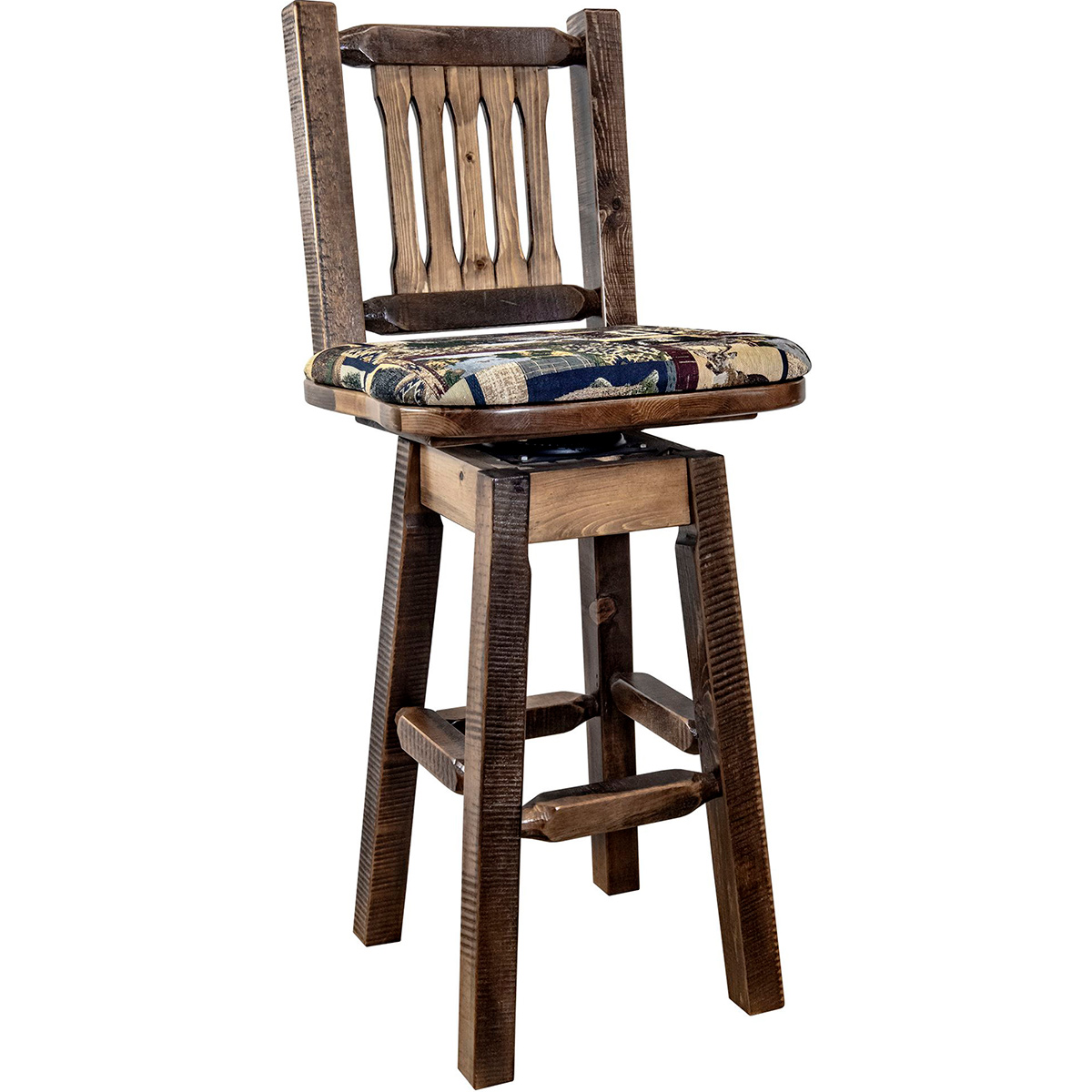 Ranchman's Barstool with Back, Swivel, Woodland Upholstered Seat, Stain & Clear Lacquer Finish