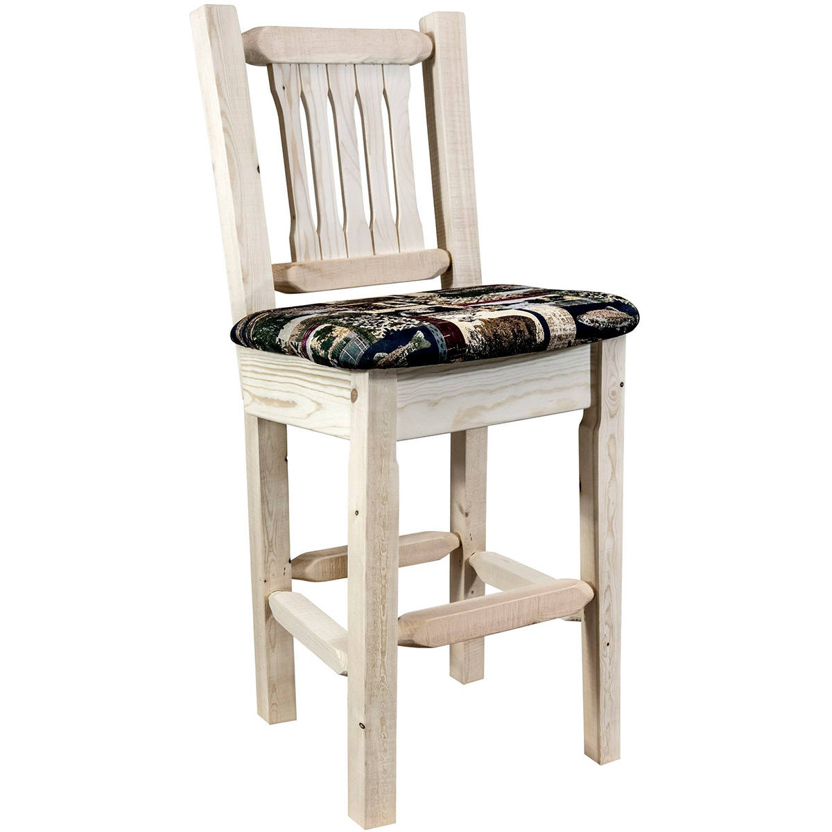 Ranchman's Barstool with Back, Woodland Upholstered Seat & Clear Lacquer Finish