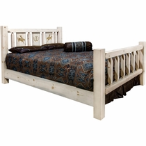 Ranchman's Bed with Laser-Engraved Bronc Design - Cal King