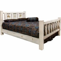 Ranchman's Bed with Laser-Engraved Bronc Design - Queen