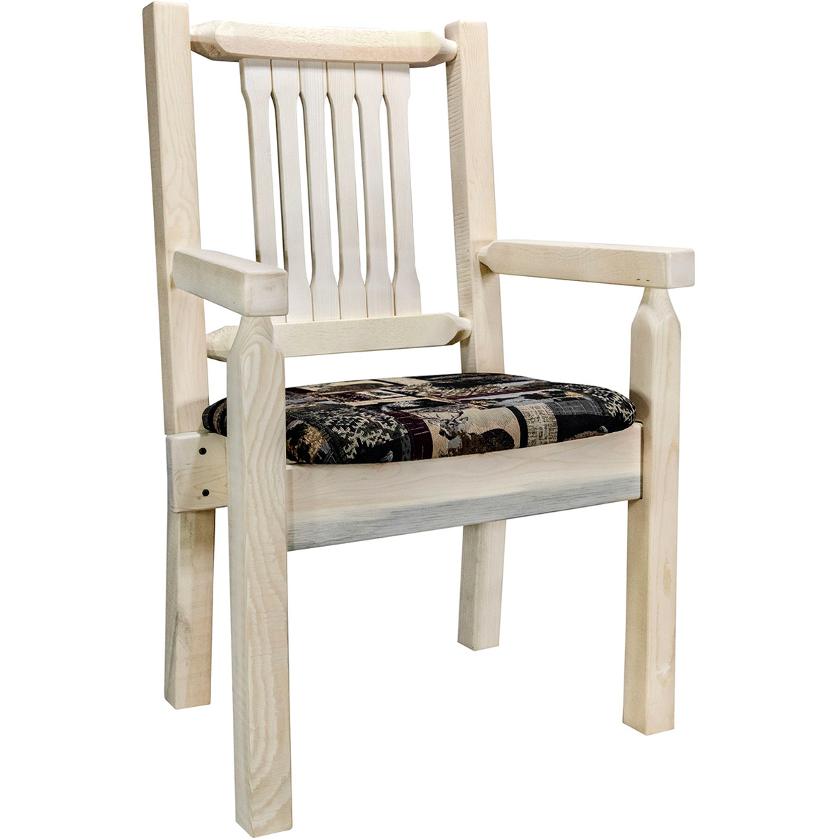 Ranchman's Captain's Chair with Woodland Upholstered Seat & Clear Lacquer Finish