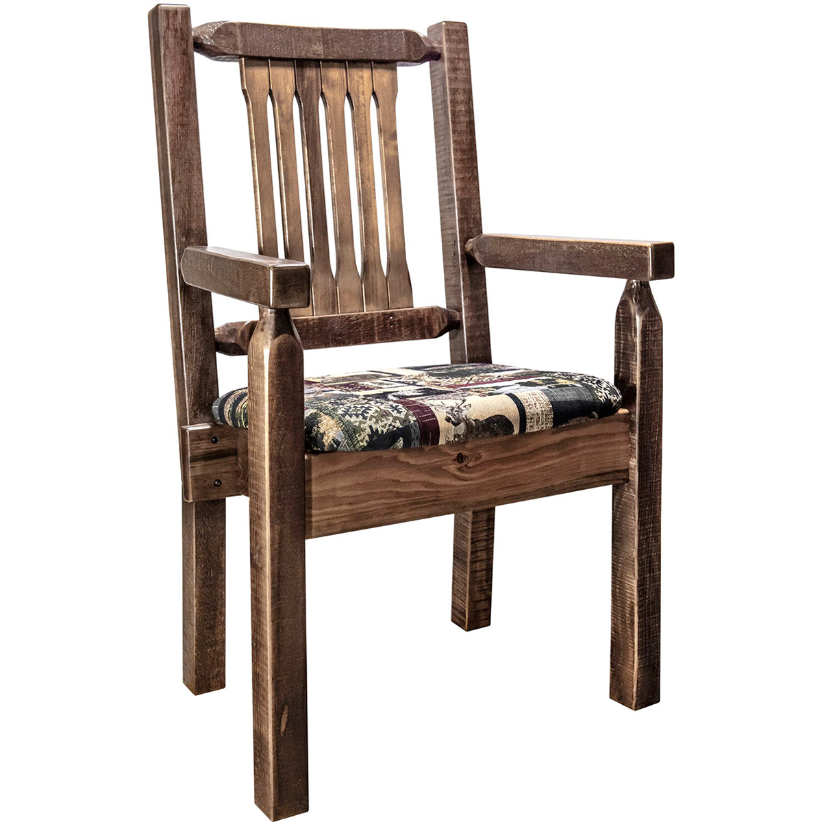 Ranchman's Captain's Chair with Woodland Upholstered Seat, Stain & Clear Lacquer Finish
