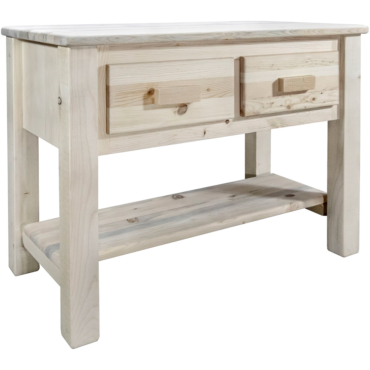 Ranchman's Console Table with 2 Drawers & Clear Lacquer Finish