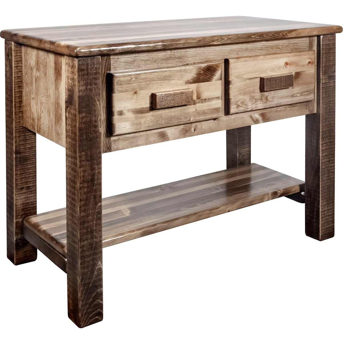 Ranchman's Console Table with 2 Drawers, Stain & Clear Lacquer Finish