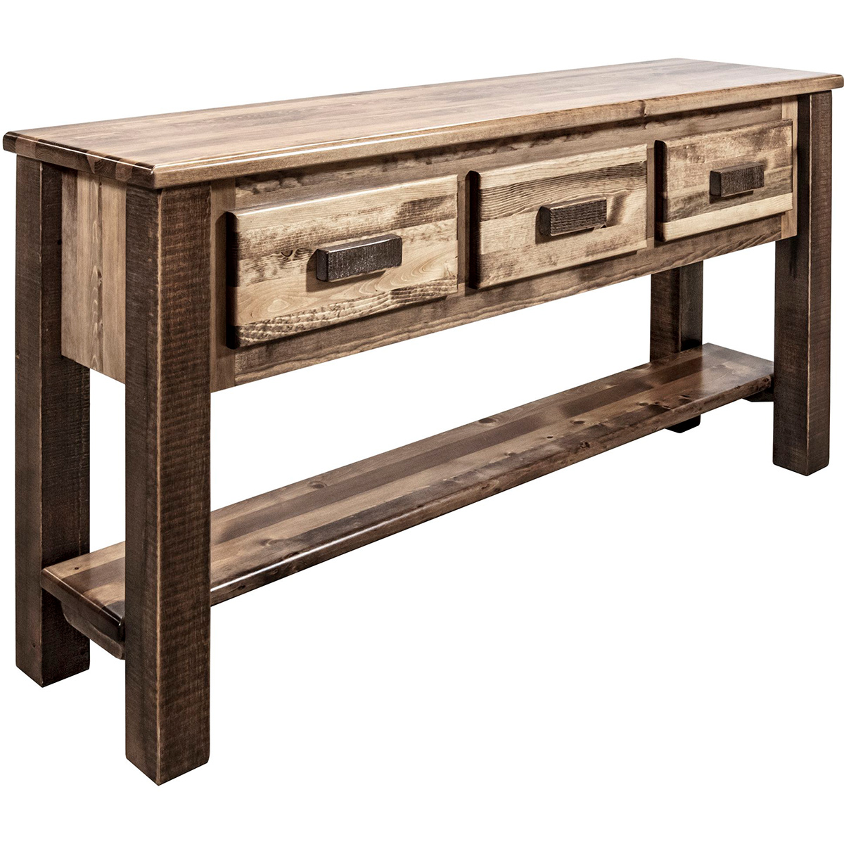 Ranchman's Console Table with 3 Drawers, Stain & Clear Lacquer Finish