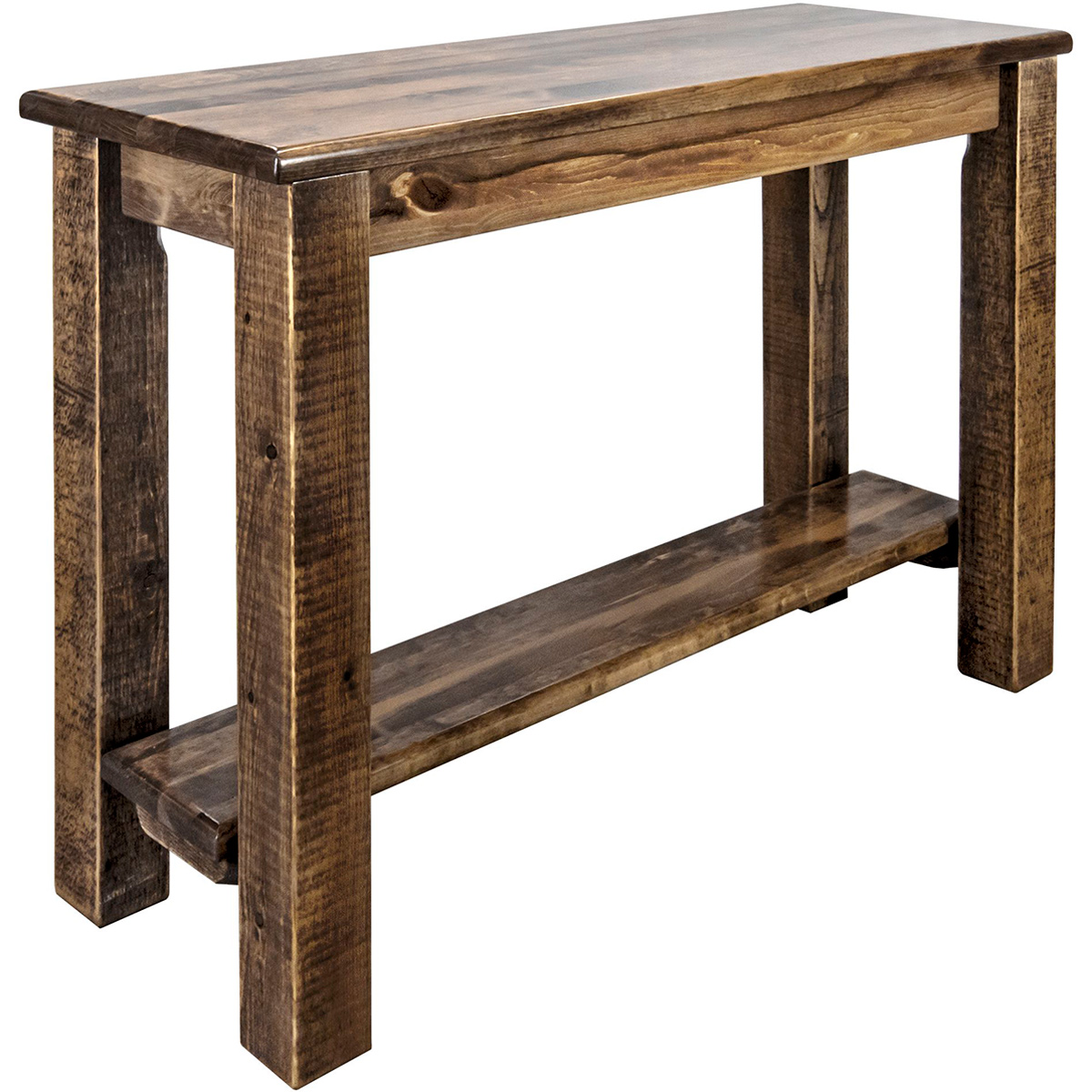 Ranchman's Console Table with Shelf, Stain & Clear Lacquer Finish