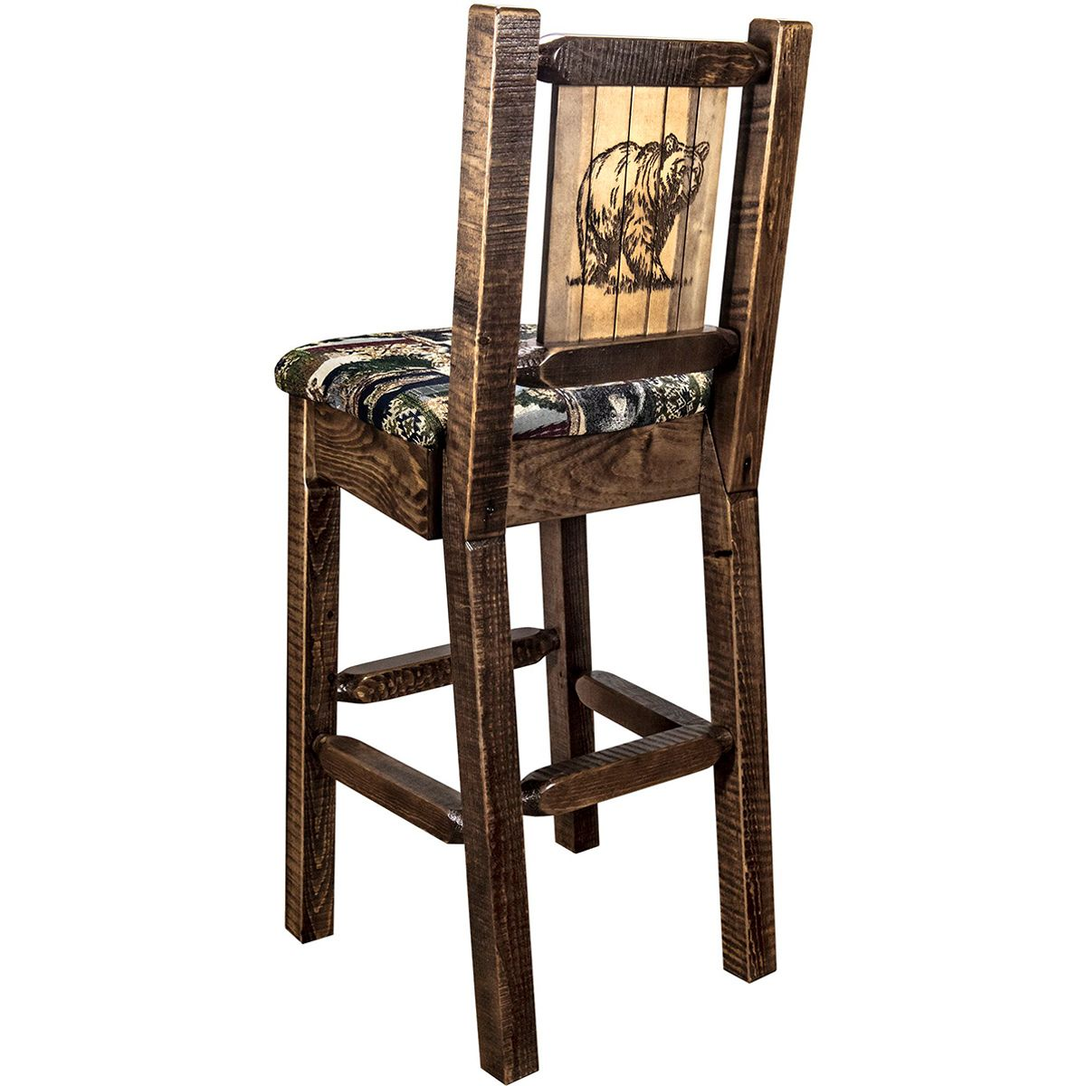 Ranchman's Counter Stool with Back & Laser-Engraved Bear Design