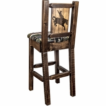 Ranchman's Counter Stool with Back & Laser-Engraved Bronc Design