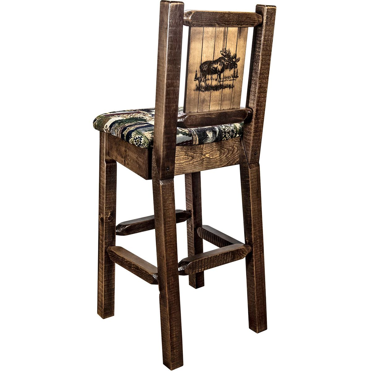 Ranchman's Counter Stool with Back & Laser-Engraved Moose Design
