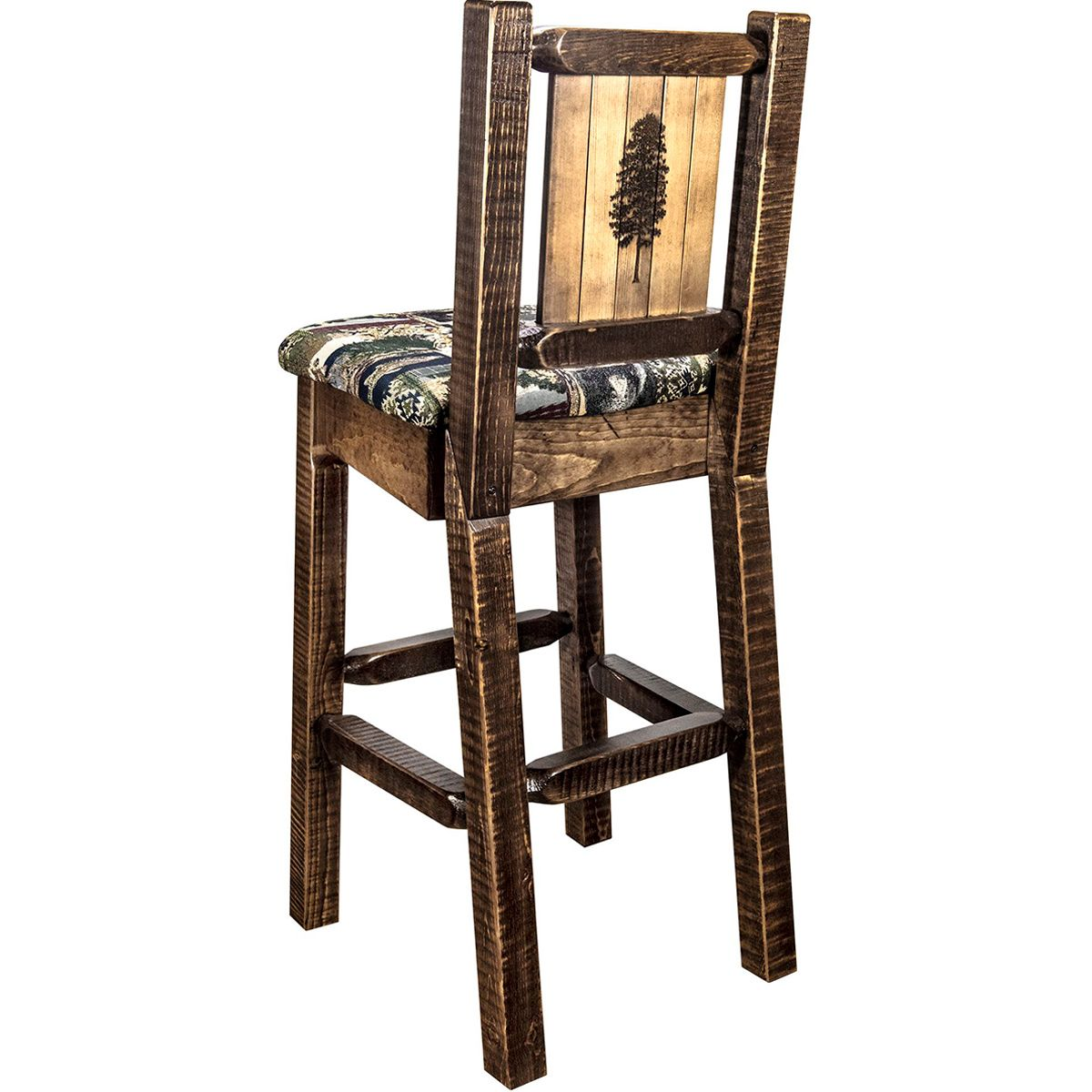 Ranchman's Counter Stool with Back & Laser-Engraved Pine Tree Design