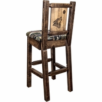 Ranchman's Counter Stool with Back & Laser-Engraved Wolf Design