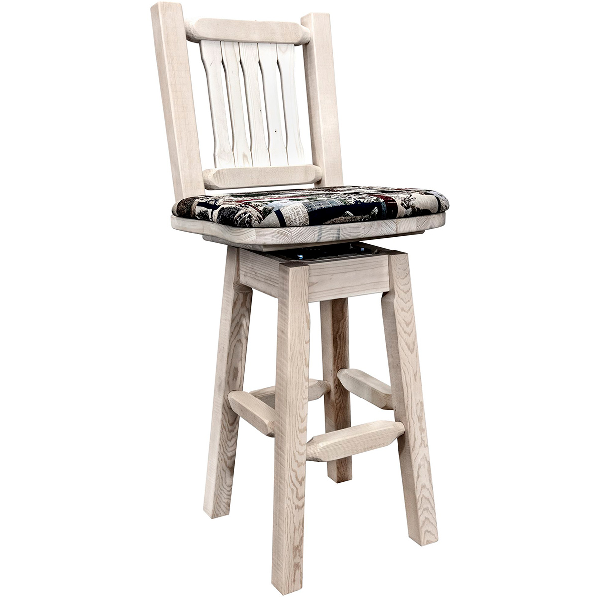 Ranchman's Counter Stool with Back, Swivel, Woodland Upholstery & Clear Lacquer Finish