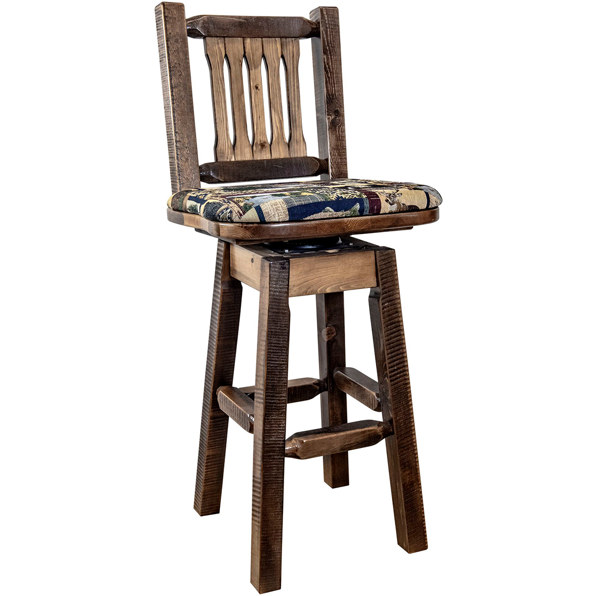 Ranchman's Counter Stool with Back, Swivel, Woodland Upholstery, Stain & Clear Lacquer Finish