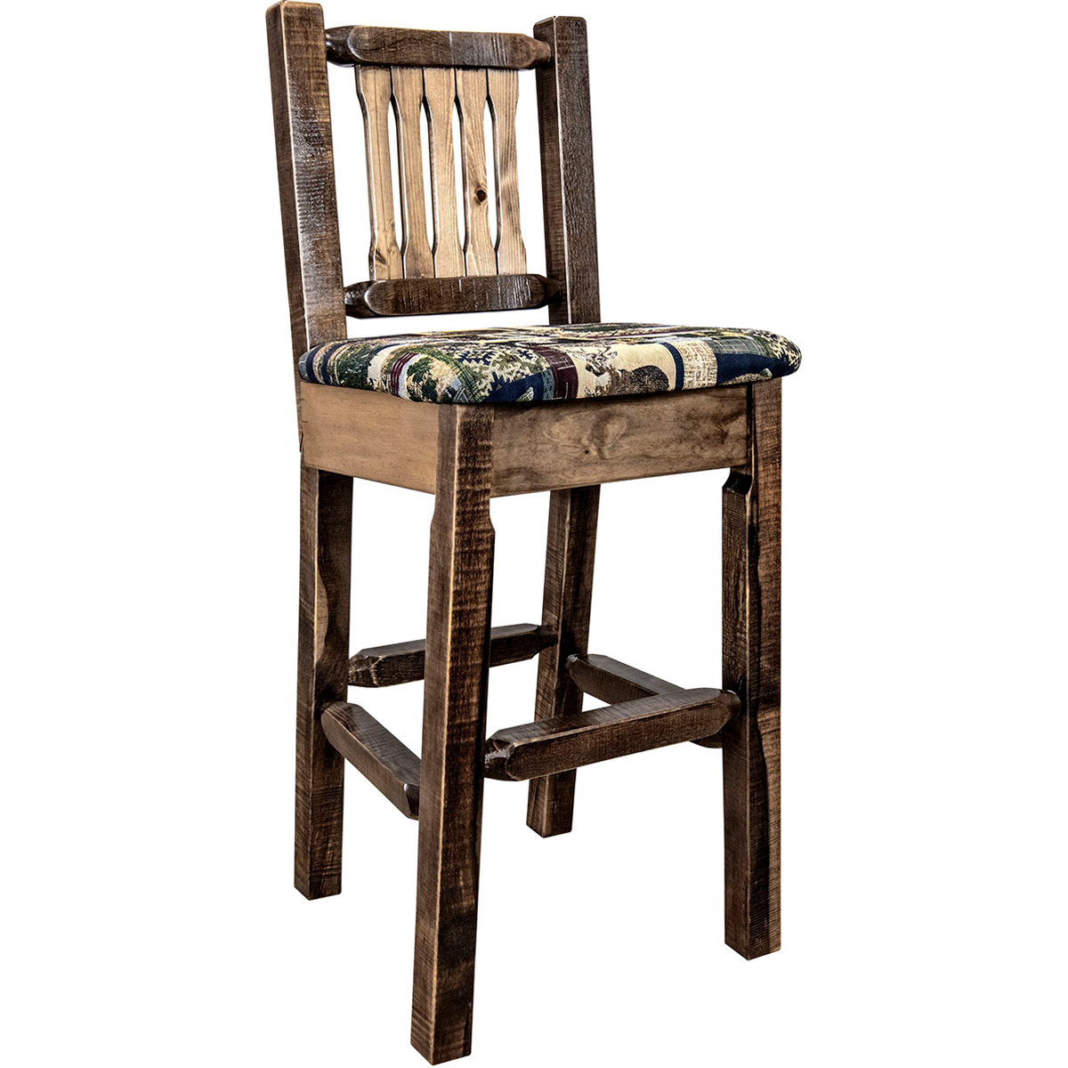Ranchman's Counter Stool with Woodland Upholstery, Stain & Clear Lacquer Finish