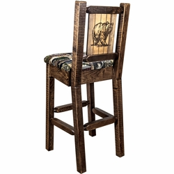 Ranchman's Counter Stools with Back & Laser-Engraved Animal Designs