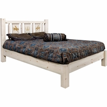 Ranchman's Platform Bed with Laser-Engraved Bronc Design - Cal King