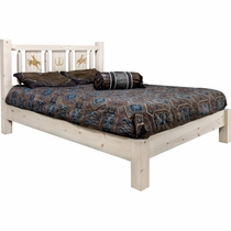 Ranchman's Platform Bed with Laser-Engraved Bronc Design - King