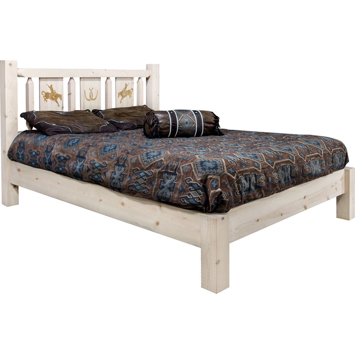 Ranchman's Platform Bed with Laser-Engraved Bronc Design - Queen