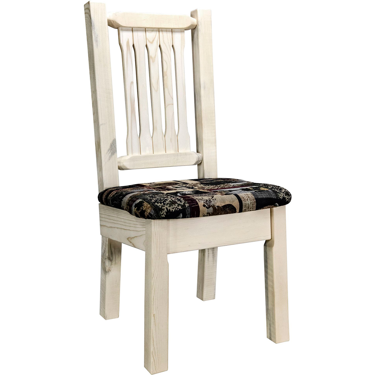 Ranchman's Side Chair with Woodland Upholstered Seat & Clear Lacquer Finish