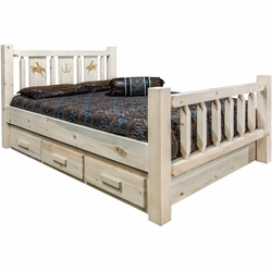 Ranchman's Storage Bed with Laser-Engraved Bronc Design